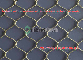 Supply hand woven stainless steel rope mesh in custom sizes for zoo projects & sports barrier netting